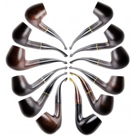 Pipe MYON 9 mm laquée marron fonçé, lot de 12