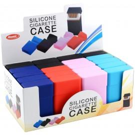 Etui à cigarettes Silicone classique, 5 coloris ass, display de 20