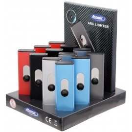 Briquet ATOMIC Alu Arc USB 6 couleurs assorties, display de 13