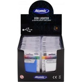 Briquet USB Extra Plat coloris opaques ass, display de 24