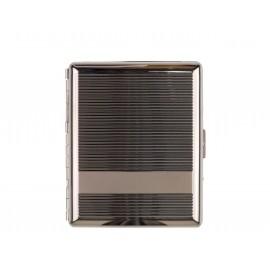 cigarette case gun metal/stripes for 20 cigarettes 100 MM