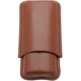 Etui cuir SAREVA tan 2 cigares, 28 mm, longueur 160 mm