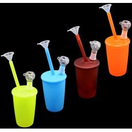glass cup bong 20 cm assorted per 4 pcs