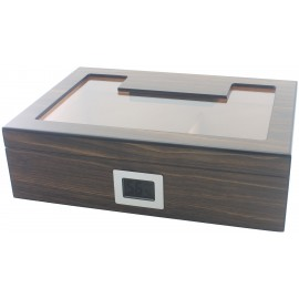 brown humidor 330 x 95 x 230 with hygrometer and humidifier