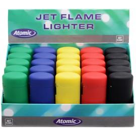 Briquet torche ATOMIC Slim gomme assortis, display de 25