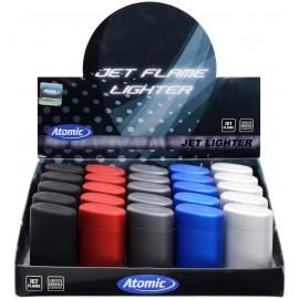 Briquet torche ATOMIC coloris métal gomme assortis, display de 25