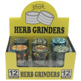 metal grinder Skull Ø 3.8 cm, 4 parts assorted per 12 pcs