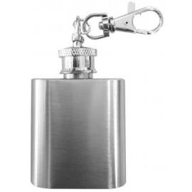 mini flask key chain silver