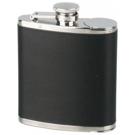 hip flask 60z/180 ml chrome leatherette black with 2 cups