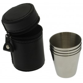 set of 4 shots cups and funnel