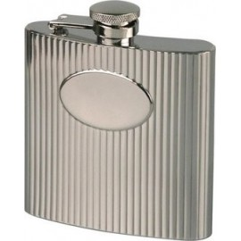 hip flask chrome/wave patern with mono plate 180 ml