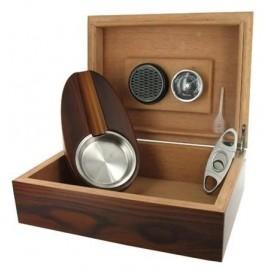 Set Humidor, ashtray, cigar cutter, hygrometer, humidifier