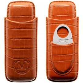 cigar case Myon 2 pcs brown leather with cutter
