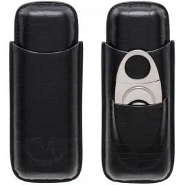 cigar case myon 2 pcs black leather withy cutter