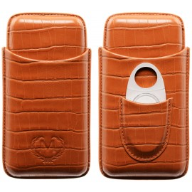 Myon 3 pcs cigar case with cigar cutter brown leather