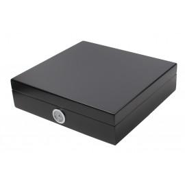 Humidor black 23x21.9x5.9 hygrometer