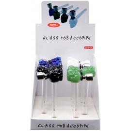 tobaccopipe skull glass assorted per 12 pcs