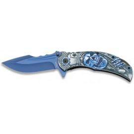 knife blue skulls 3D 9 cm