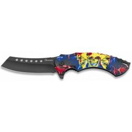 knife FOS Skull 3 D, black blade8.5 cm with clip