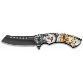 knife Clown/Skull black blade 8.5cm with clip