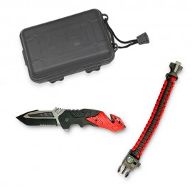 FOS knife set black/red, blade 8.5cm with clip + survival accessory