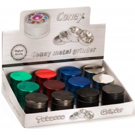 metal grinder 6 colors, 4 parts, doameter 4,2 cm, assorted per 12 pcs
