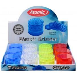 plastic grinder Ø 5 cm, 4 parts, 4 colors assorted per 12 pcs
