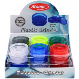 Grinder plastique 6 couleurs assortis, 6 cm, display de 24