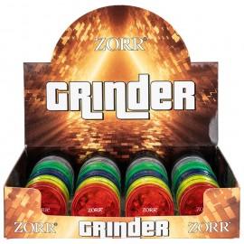 plastic grinder assorted colors, Ø 4.2 cm, 3 parts, per 24 pcs
