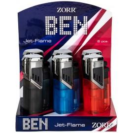 4 jet flame lighter Zoor BEN assorted per 6  pcs
